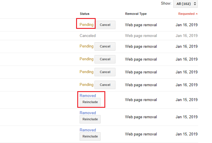Pending and removed status on remove URLs tool in search console