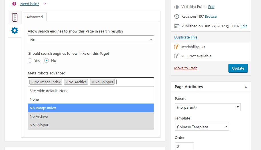 Yoast settings to prevent a page from being indexed on Google