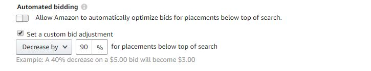 Change bid to remove below the search ads placements