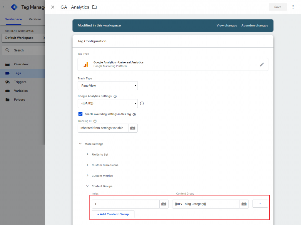 Content grouping using GTM