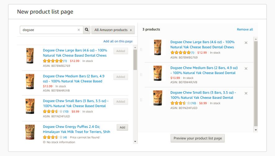Select Products for Products List Page on Amazon