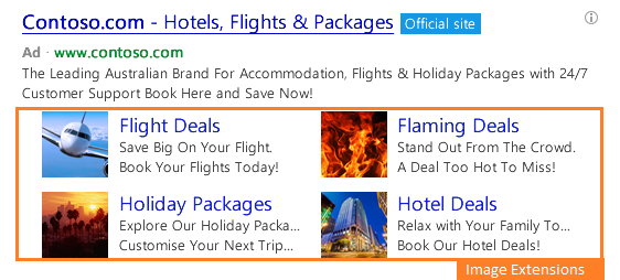 Bing Ad Image Extensions example