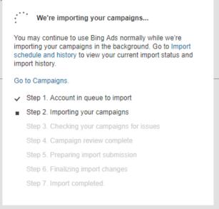 Campaign Import message popup