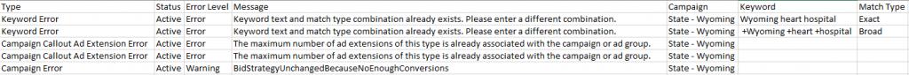 Campaign import error messages