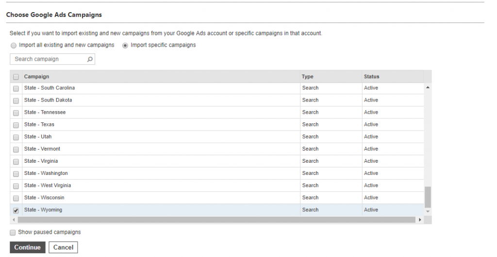 Choose Google Ads campaigns to import on Google