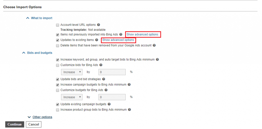 Choose Import options from Google to Bing