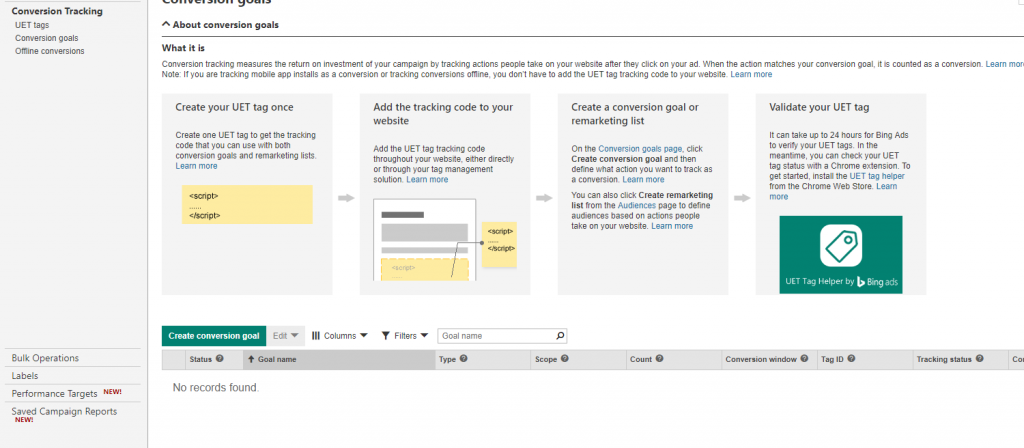 Create Conversions in Bing