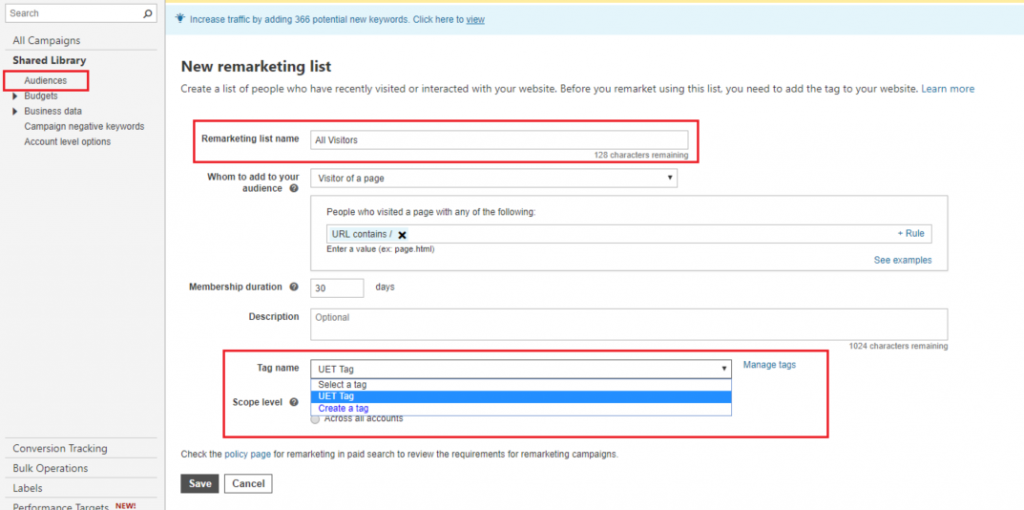 Create a remarketing list on Bing based on page visitors