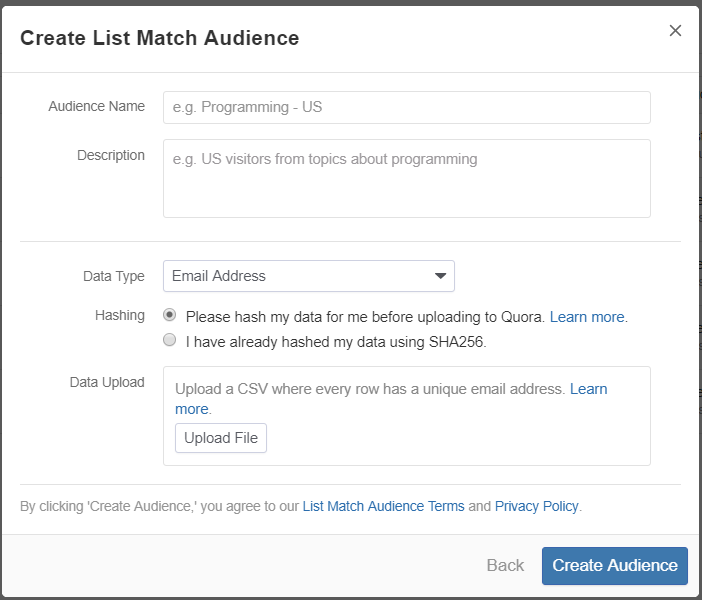 Creating List Match Audience on Quora