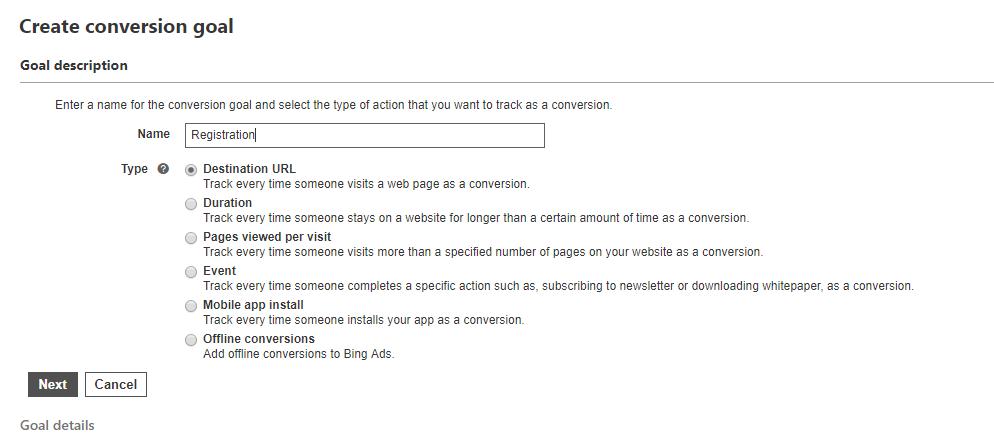 Creating conversion goal on Bing
