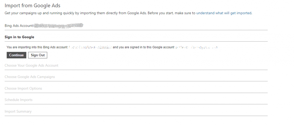 Import Google Ads - Google sign in