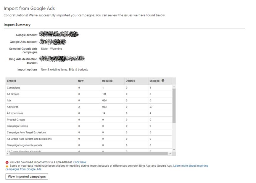 Import summary from google ads