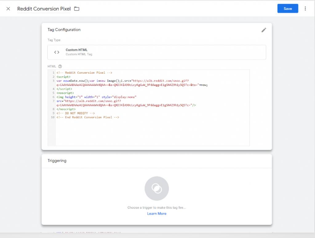 Install Reddit Base & Standard Conversion Code Using GTM
