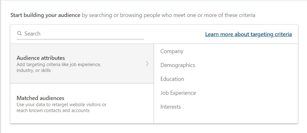 Targeting criteria on LinkedIn