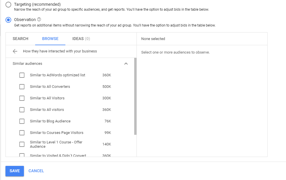 Using RLSA for the top of funnel users targeting similar audience