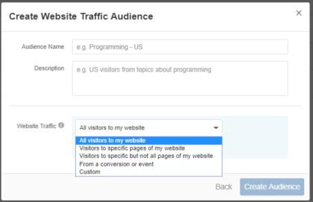 Create Website traffic audience on Quora