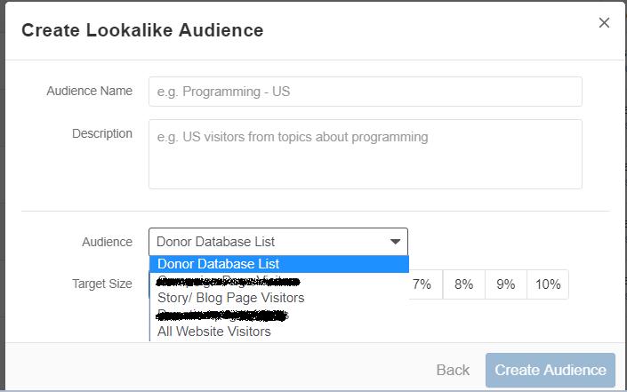 Creating lookalike audience on Quora screenshot