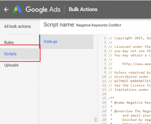 Go to scripts in google ads