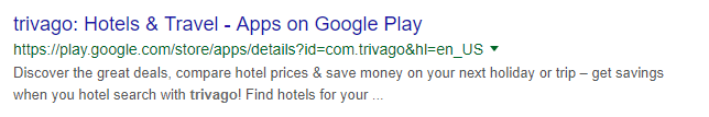 Trivago App Search Result on Search Engine Result Page on Google