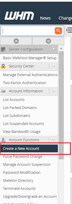 Create a new account in WHM