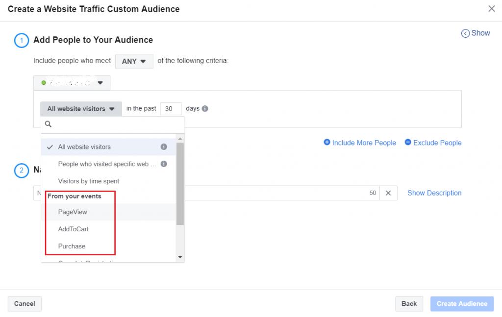 Create custom audience based on events