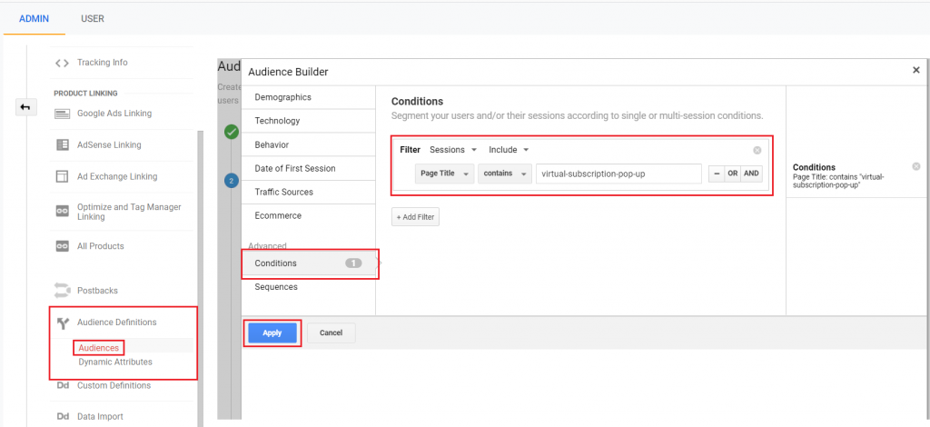 Create remarketing audience from virtual pageviews