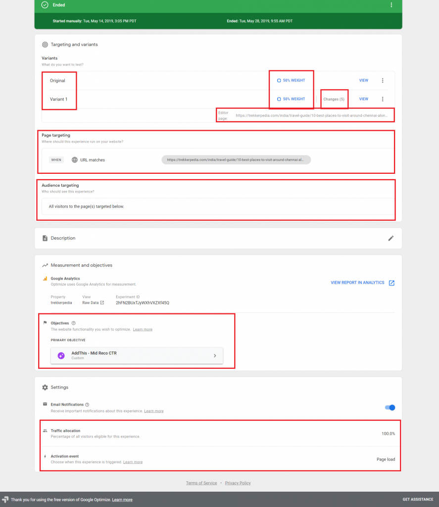 Google Optimize Experiment elements