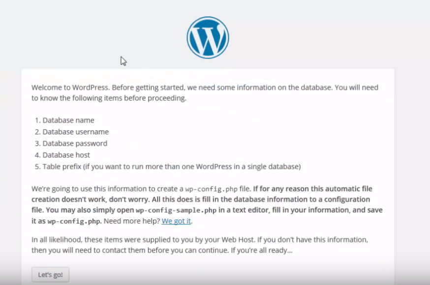 Wordpress installation first screen
