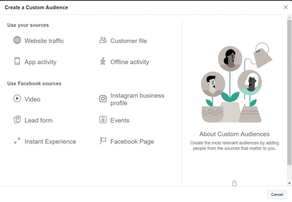 Custom Audience Sources on Facebook for audience exclusion