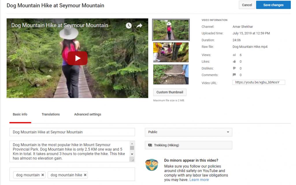 YouTube Sample Video Meta Data