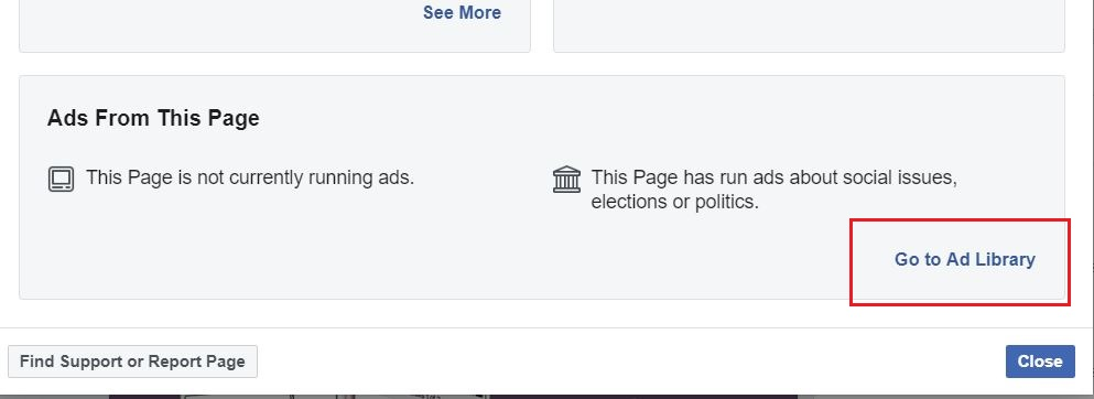 Competitors Facebook Ads Library option