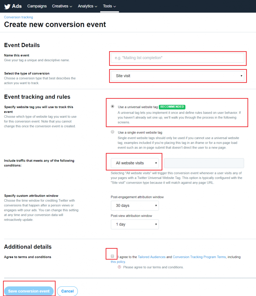 Create a new Conversion event in Twitter