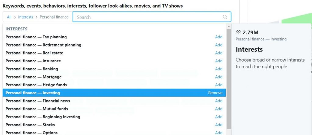 Interest based targeting on twitter
