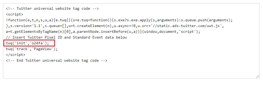 Twitter tracking code snippet