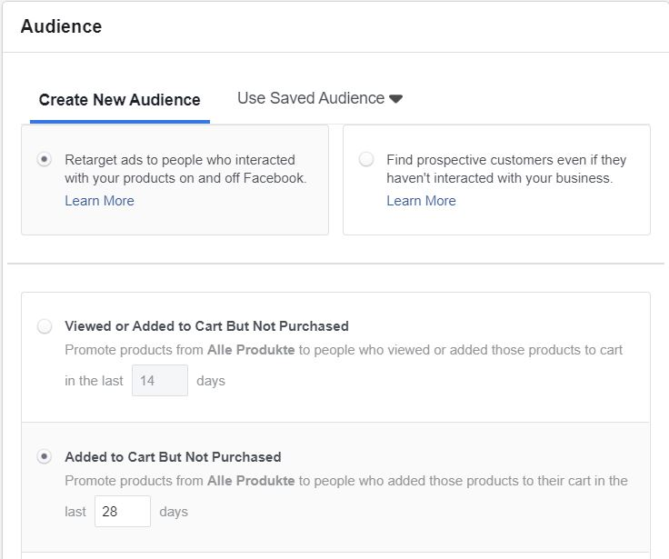 Dynamic AdSet audience targeting for Add to cart audience