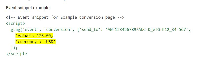 Example of transaction specific conversion code