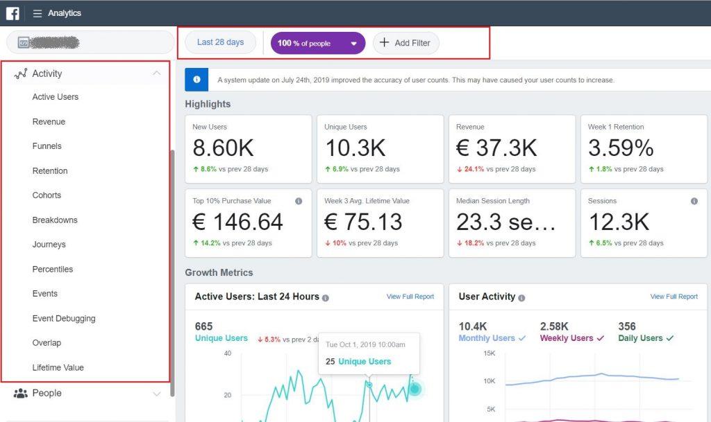 Facebook Analytics Main landing page